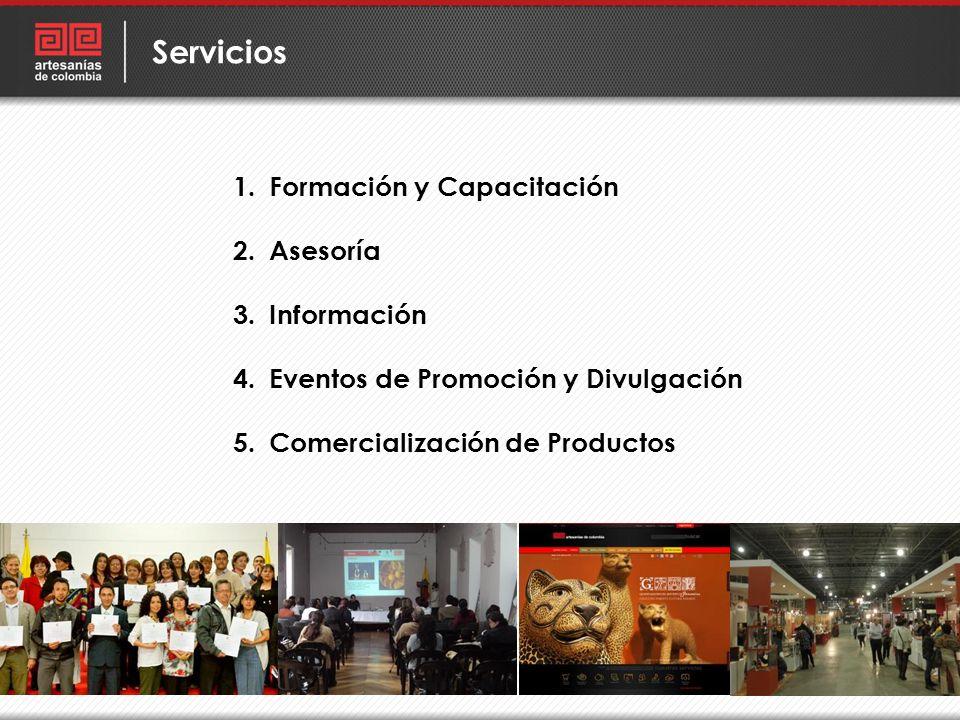 1.Formación y Capacitación 2.Asesoría 3.Información 4.Eventos de Promoción y Divulgación 5.Comercialización de Productos Servicios