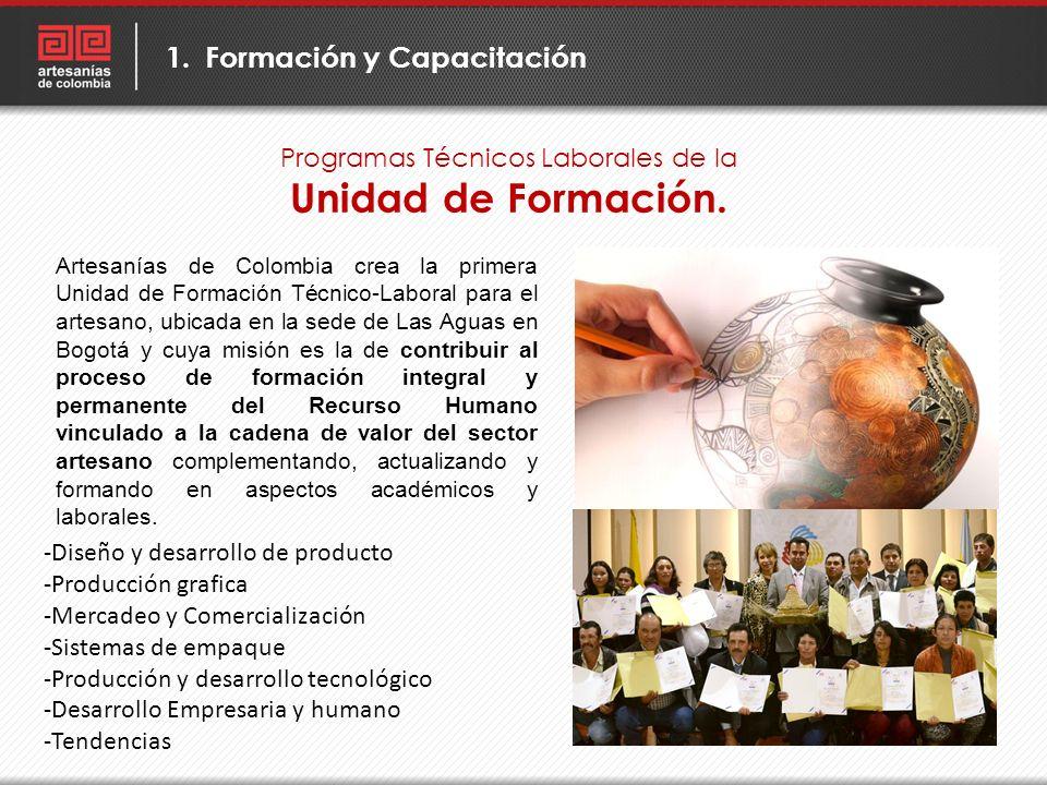 Programas Técnicos Laborales de la Unidad de Formación. 1.Formación y Capacitación Artesanías de Colombia crea la primera Unidad de Formación Técnico-