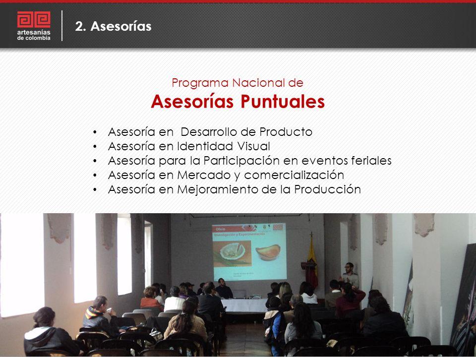 Programa Nacional de Asesorías Puntuales 2. Asesorías Asesoría en Desarrollo de Producto Asesoría en Identidad Visual Asesoría para la Participación e