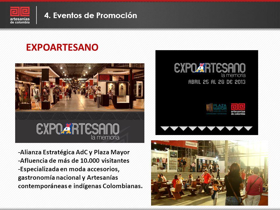EXPOARTESANO 4. Eventos de Promoción -Alianza Estratégica AdC y Plaza Mayor -Afluencia de más de 10.000 visitantes -Especializada en moda accesorios,