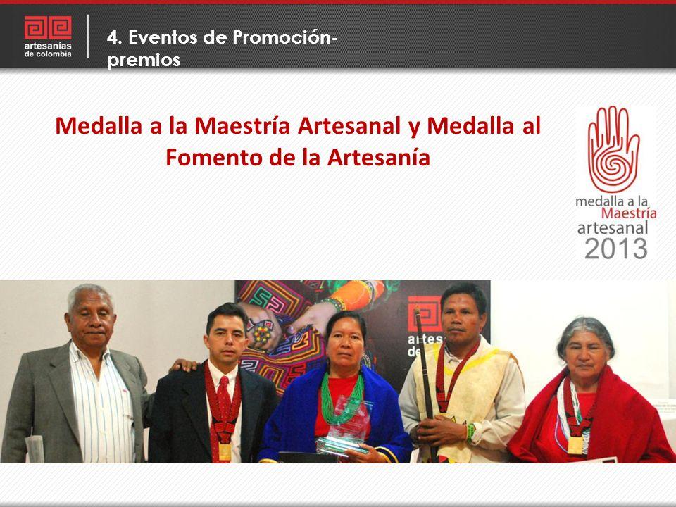 Medalla a la Maestría Artesanal y Medalla al Fomento de la Artesanía 4. Eventos de Promoción- premios