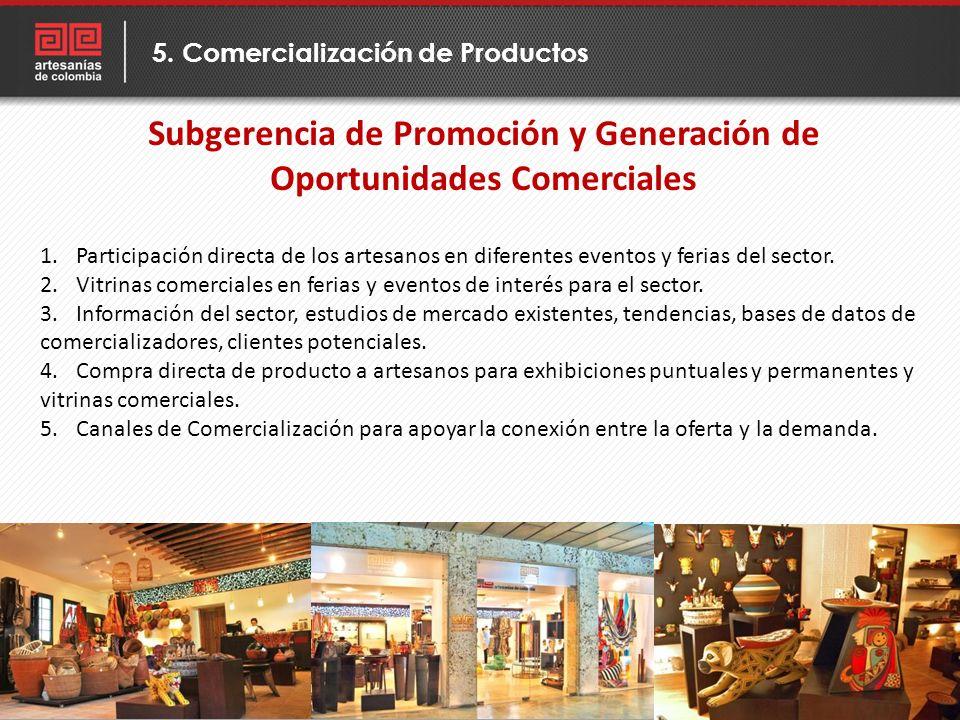 5. Comercialización de Productos Subgerencia de Promoción y Generación de Oportunidades Comerciales 1.Participación directa de los artesanos en difere