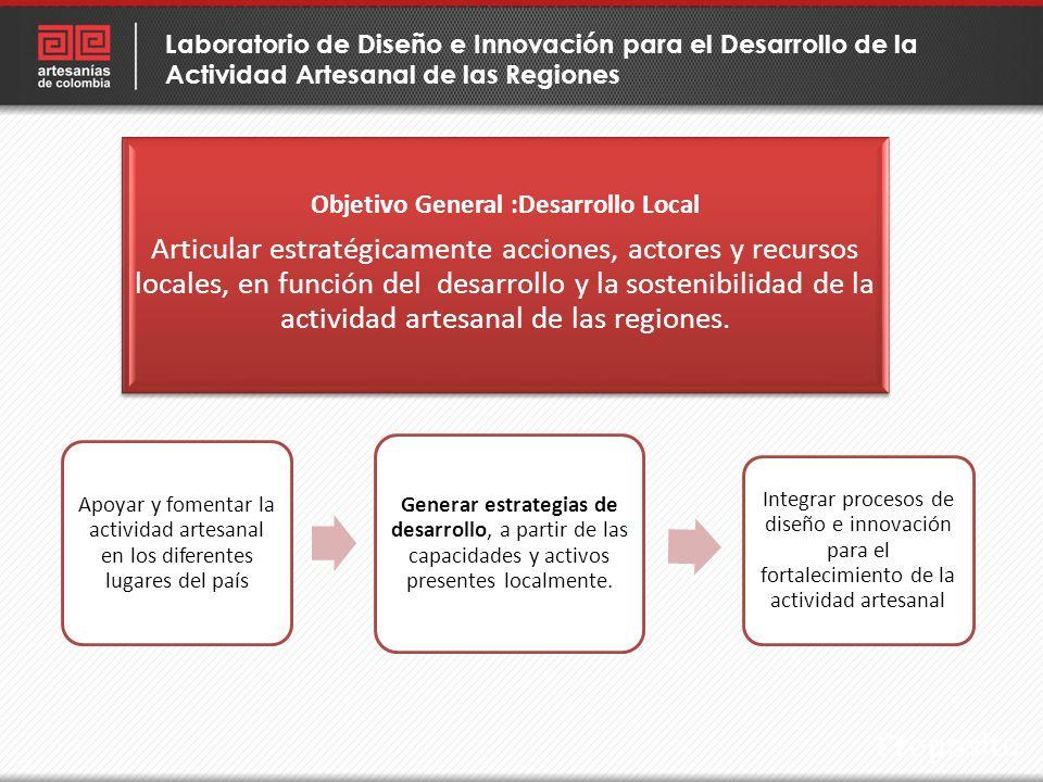 Propósito Apoyar y fomentar la actividad artesanal en los diferentes lugares del país Generar estrategias de desarrollo, a partir de las capacidades y