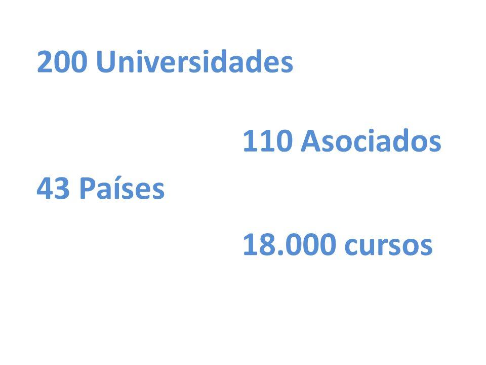 200 Universidades 110 Asociados 43 Países 18.000 cursos