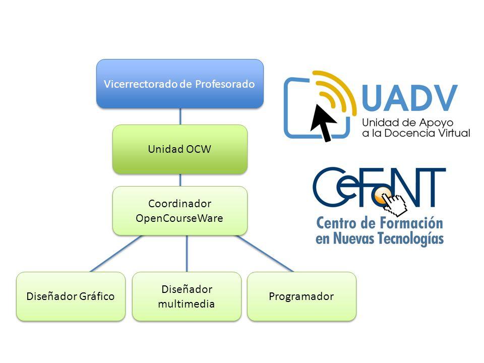 Vicerrectorado de Profesorado Unidad OCW Diseñador Gráfico Diseñador multimedia Programador Coordinador OpenCourseWare Coordinador OpenCourseWare