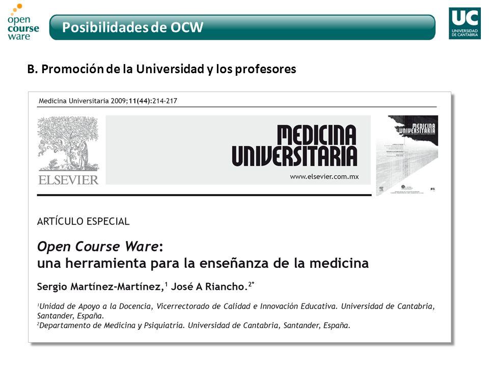 Posibilidades de OCW B. Promoción de la Universidad y los profesores