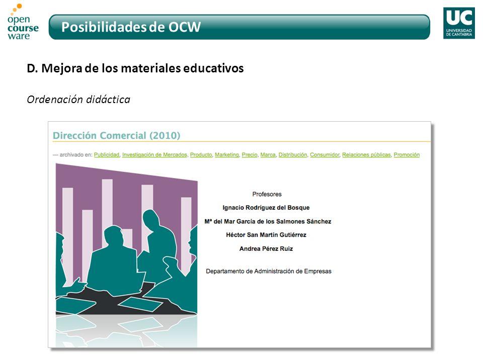 Posibilidades de OCW D. Mejora de los materiales educativos Ordenación didáctica