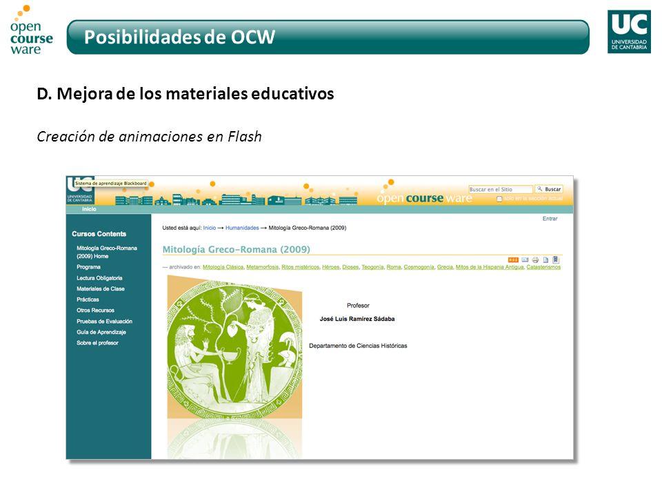 Posibilidades de OCW D. Mejora de los materiales educativos Creación de animaciones en Flash