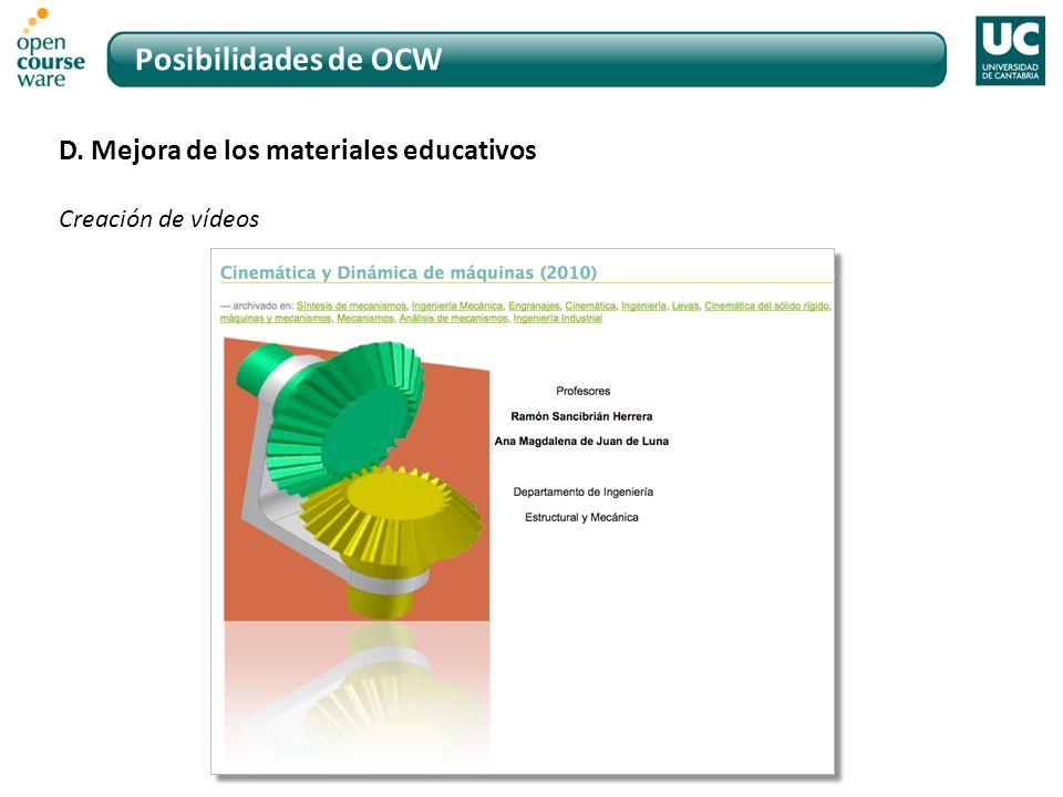 Posibilidades de OCW D. Mejora de los materiales educativos Creación de vídeos