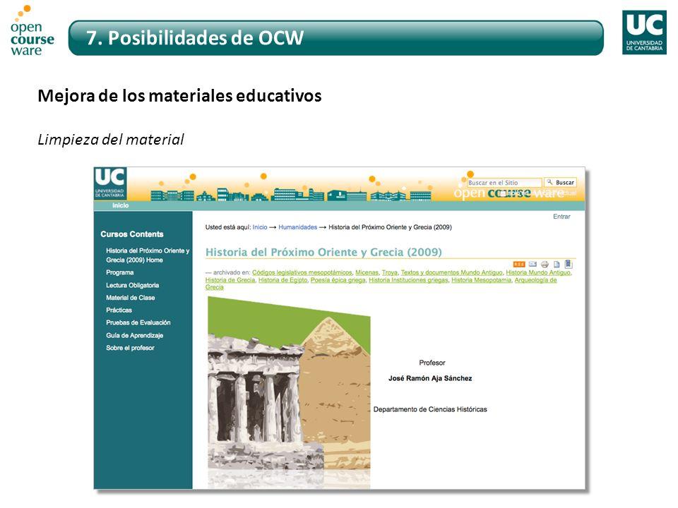 7. Posibilidades de OCW Mejora de los materiales educativos Limpieza del material