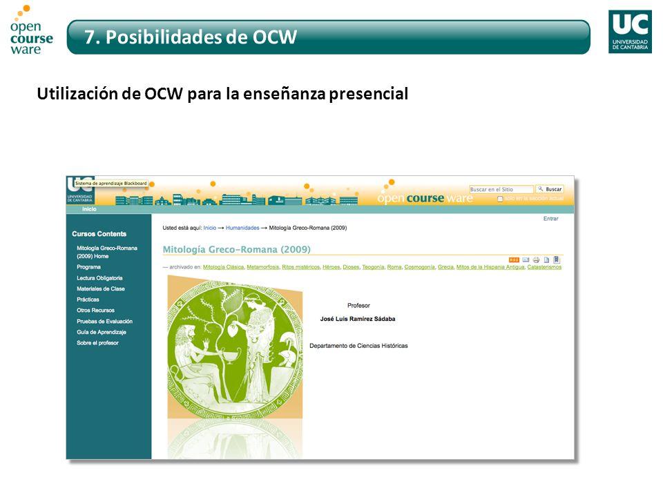 7. Posibilidades de OCW Utilización de OCW para la enseñanza presencial