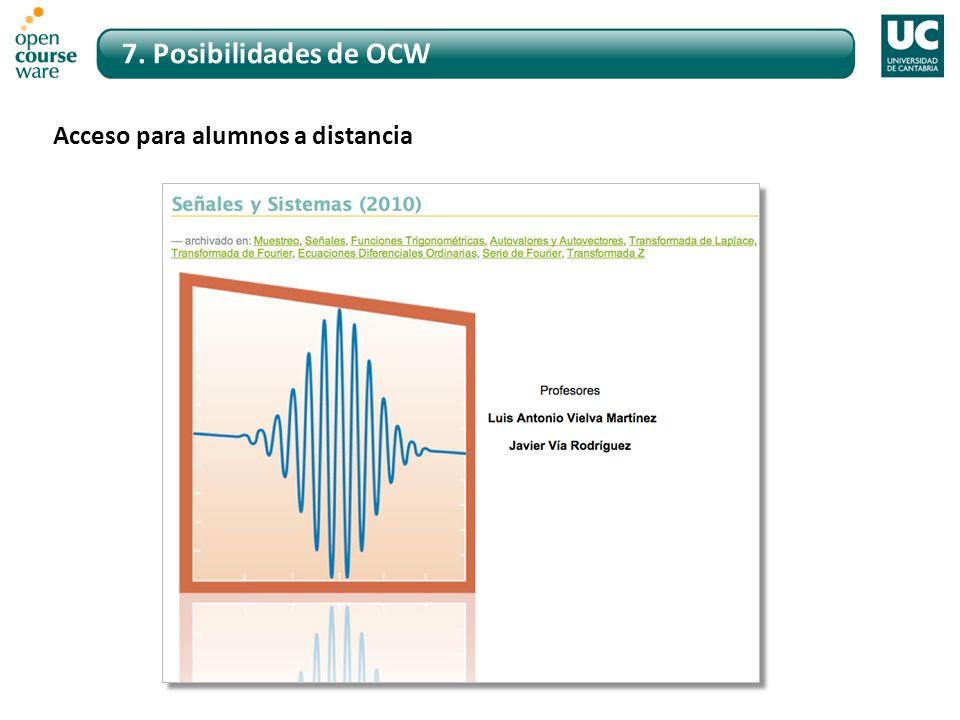 7. Posibilidades de OCW Acceso para alumnos a distancia