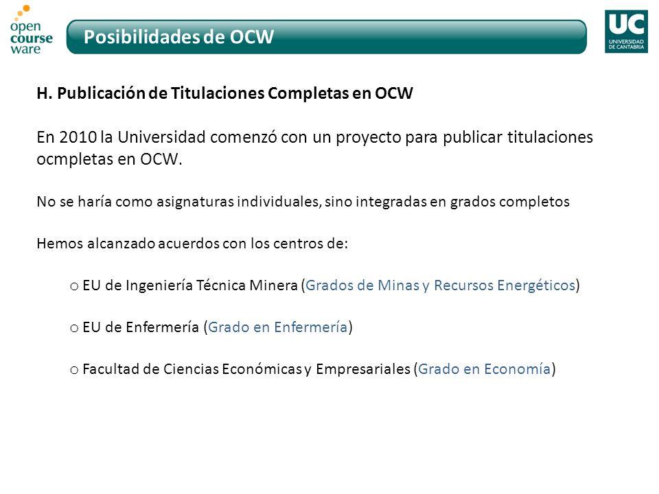 Posibilidades de OCW H.