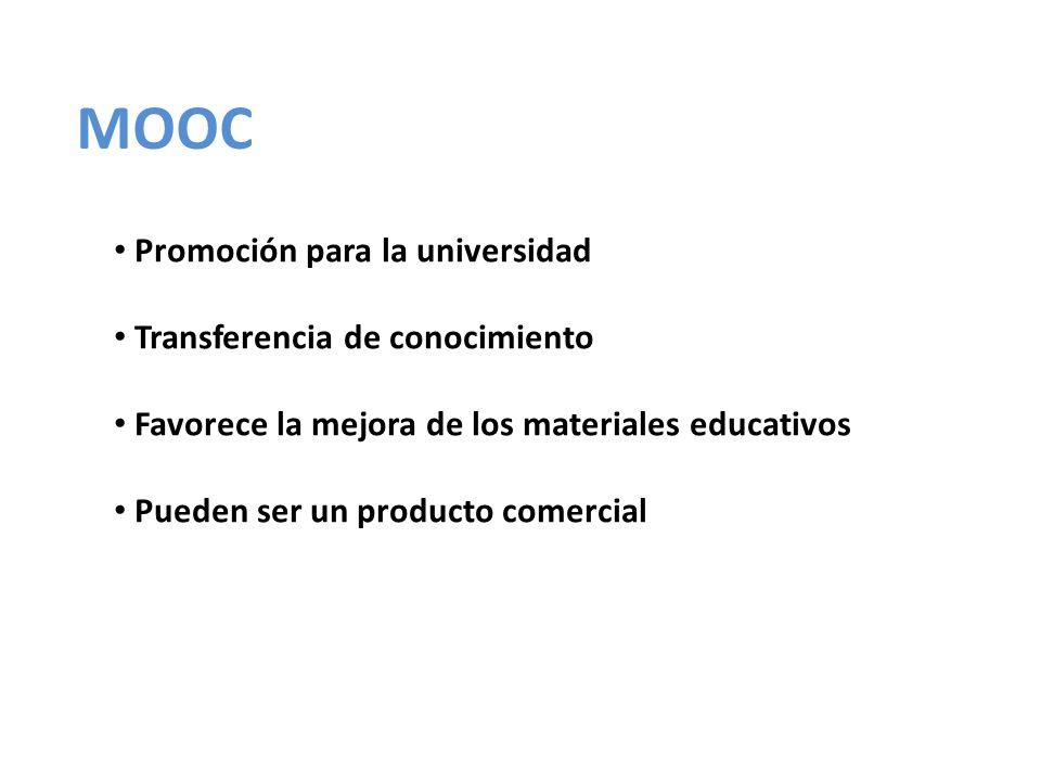 MOOC Promoción para la universidad Transferencia de conocimiento Favorece la mejora de los materiales educativos Pueden ser un producto comercial