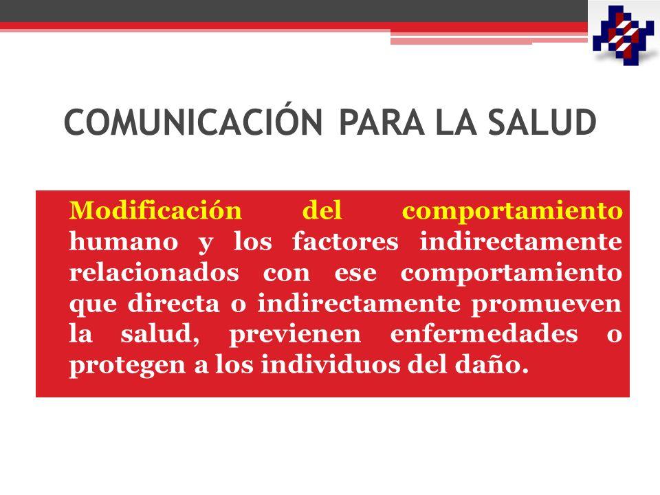 COMUNICACIÓN PARA LA SALUD Modificación del comportamiento humano y los factores indirectamente relacionados con ese comportamiento que directa o indirectamente promueven la salud, previenen enfermedades o protegen a los individuos del daño.
