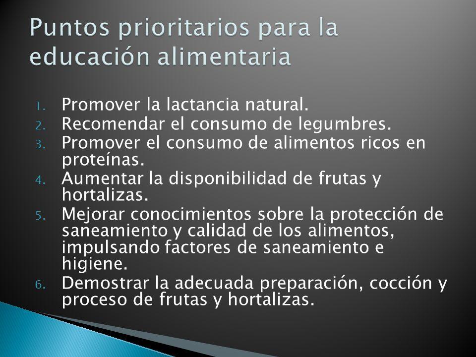 1. Promover la lactancia natural. 2. Recomendar el consumo de legumbres.