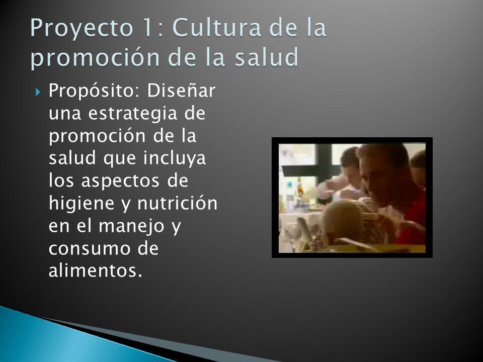 Propósito: Diseñar una estrategia de promoción de la salud que incluya los aspectos de higiene y nutrición en el manejo y consumo de alimentos.