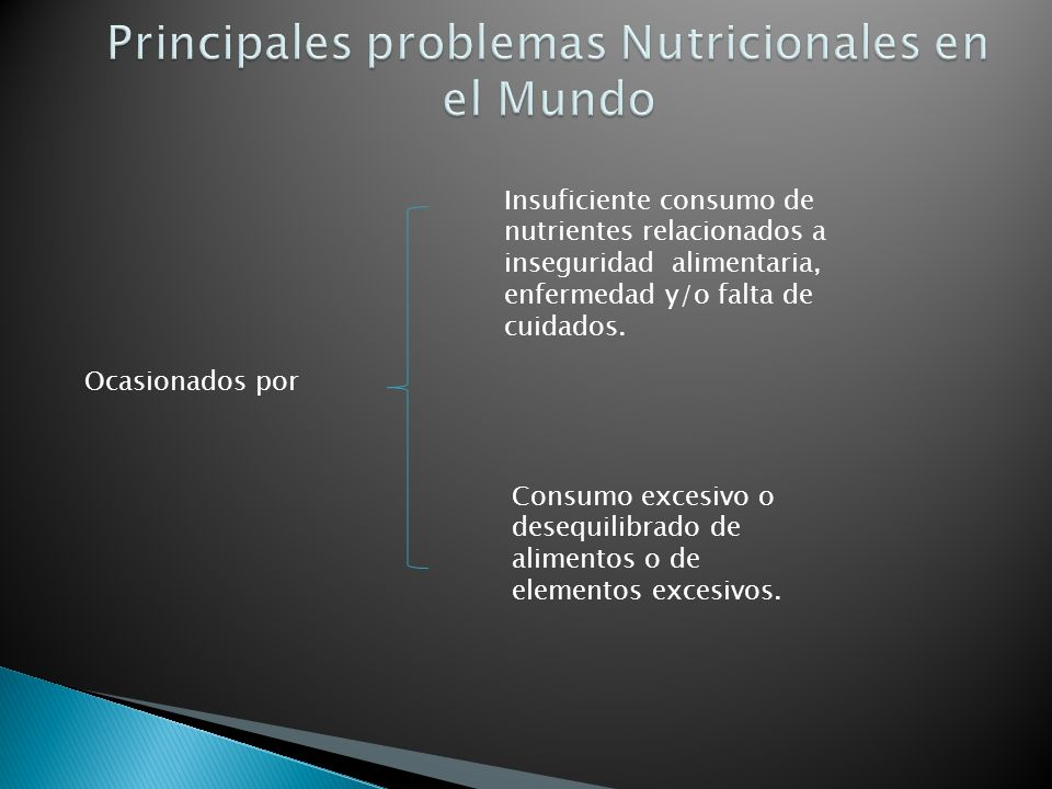 Ocasionados por Insuficiente consumo de nutrientes relacionados a inseguridad alimentaria, enfermedad y/o falta de cuidados.