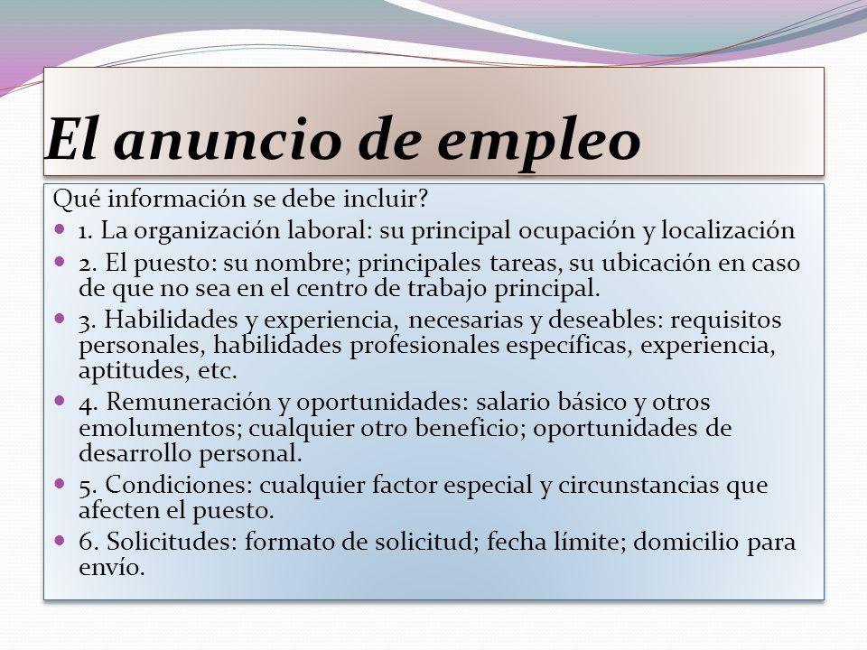 El anuncio de empleo Qué información se debe incluir.