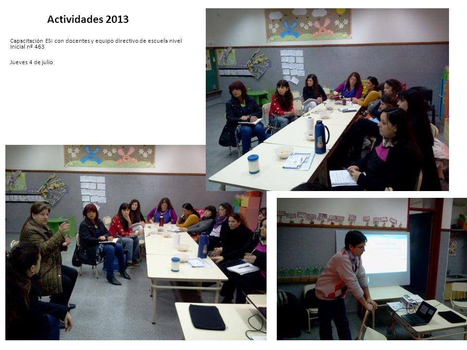 Actividades 2013 Capacitación ESI con docentes y equipo directivo de escuela nivel inicial nº 463 Jueves 4 de julio