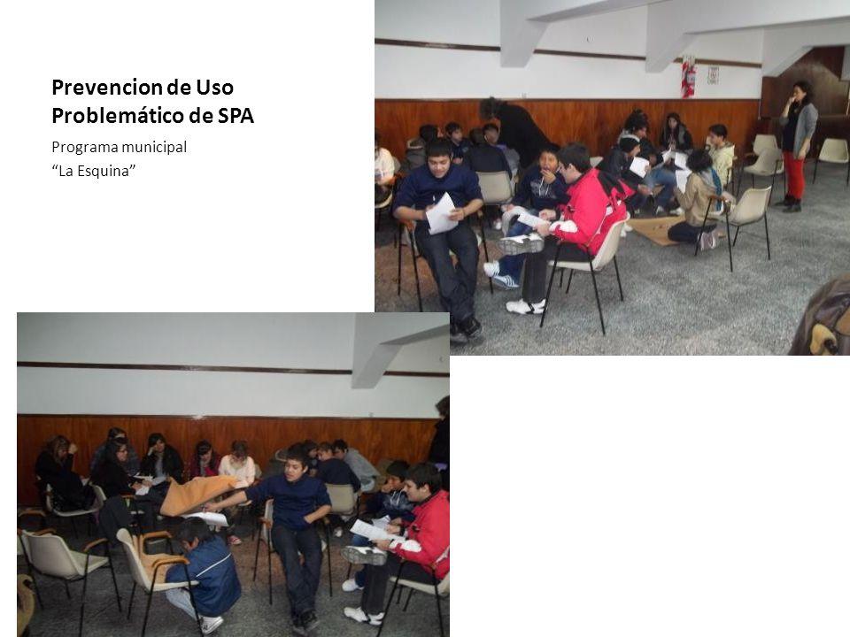 Prevencion de Uso Problemático de SPA Programa municipal La Esquina