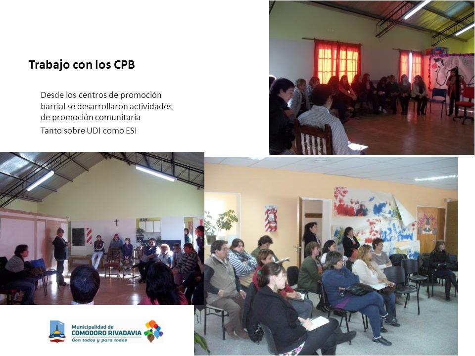 Trabajo con los CPB Desde los centros de promoción barrial se desarrollaron actividades de promoción comunitaria Tanto sobre UDI como ESI