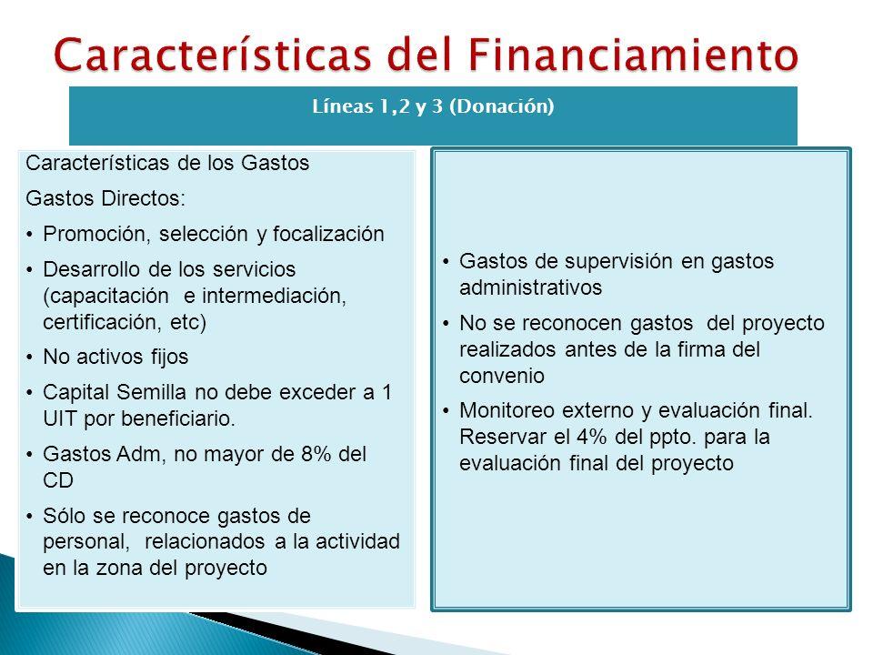 Líneas 1,2 y 3 (Donación) Características de los Gastos Gastos Directos: Promoción, selección y focalización Desarrollo de los servicios (capacitación e intermediación, certificación, etc) No activos fijos Capital Semilla no debe exceder a 1 UIT por beneficiario.