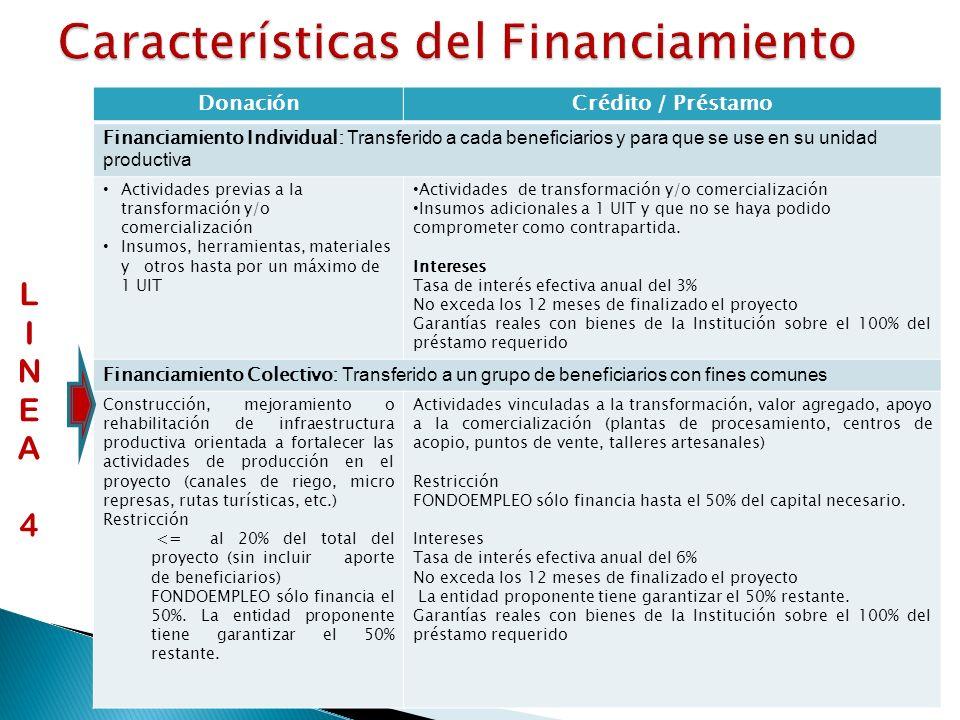 DonaciónCrédito / Préstamo Financiamiento Individual: Transferido a cada beneficiarios y para que se use en su unidad productiva Actividades previas a