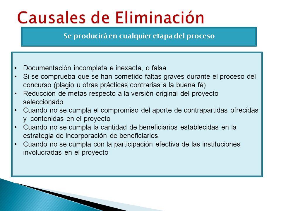 Se producirá en cualquier etapa del proceso Documentación incompleta e inexacta, o falsa Si se comprueba que se han cometido faltas graves durante el