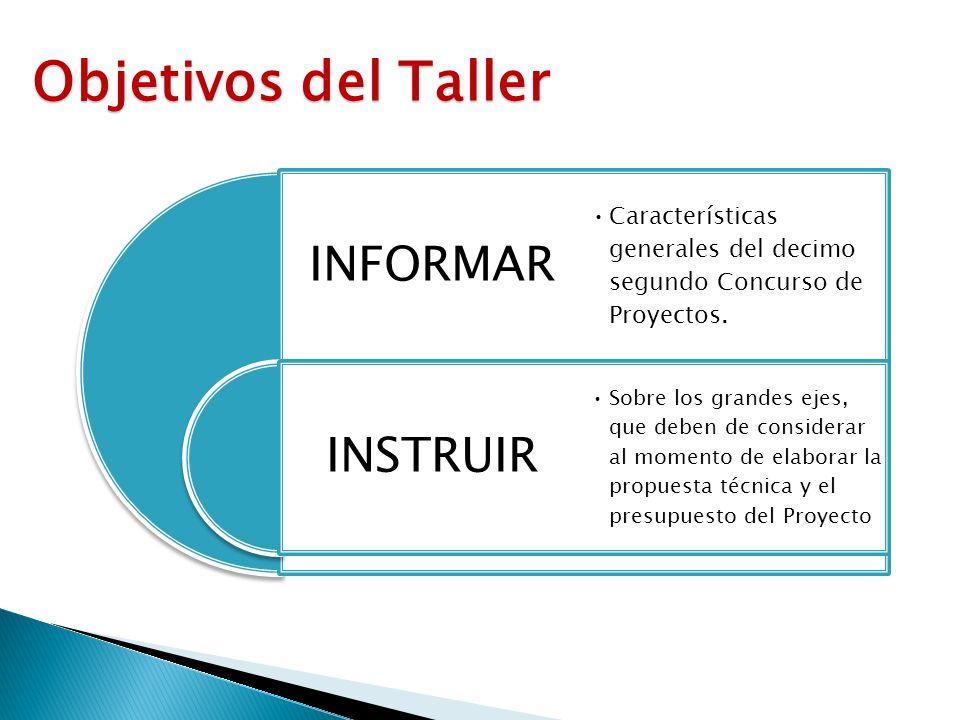 INFORMAR INSTRUIR Características generales del decimo segundo Concurso de Proyectos. Sobre los grandes ejes, que deben de considerar al momento de el
