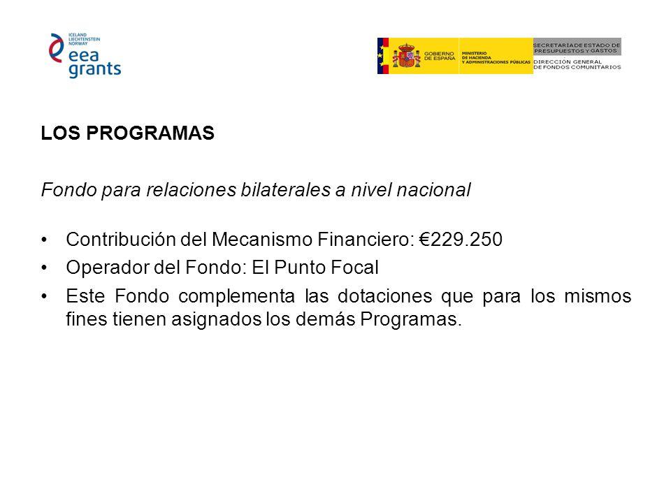 LOS PROGRAMAS Fondo para relaciones bilaterales a nivel nacional Contribución del Mecanismo Financiero: 229.250 Operador del Fondo: El Punto Focal Este Fondo complementa las dotaciones que para los mismos fines tienen asignados los demás Programas.