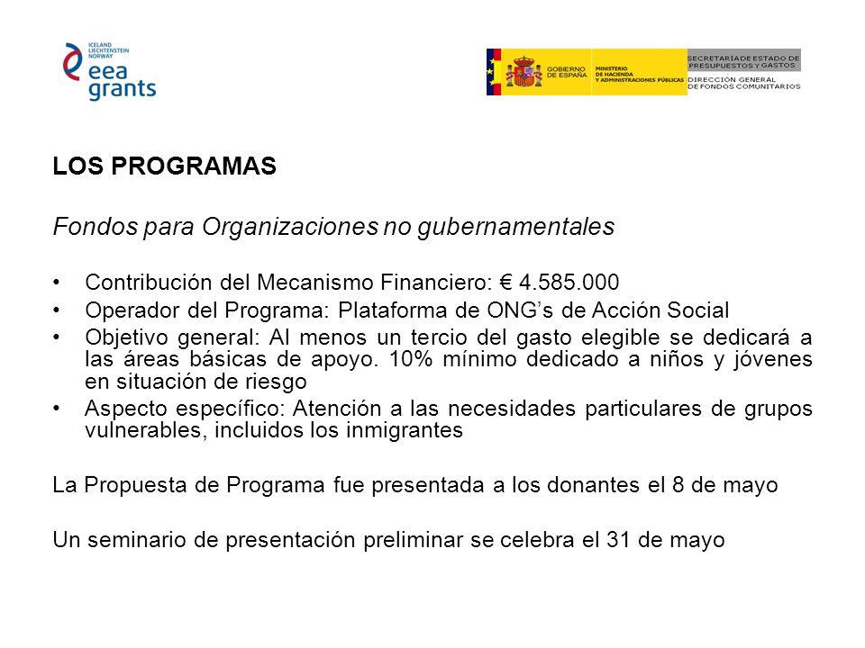 LOS PROGRAMAS Fondos para Organizaciones no gubernamentales Contribución del Mecanismo Financiero: 4.585.000 Operador del Programa: Plataforma de ONGs
