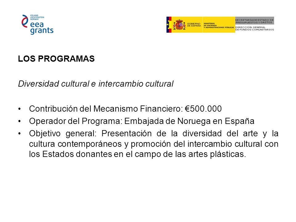 LOS PROGRAMAS Diversidad cultural e intercambio cultural Contribución del Mecanismo Financiero: 500.000 Operador del Programa: Embajada de Noruega en