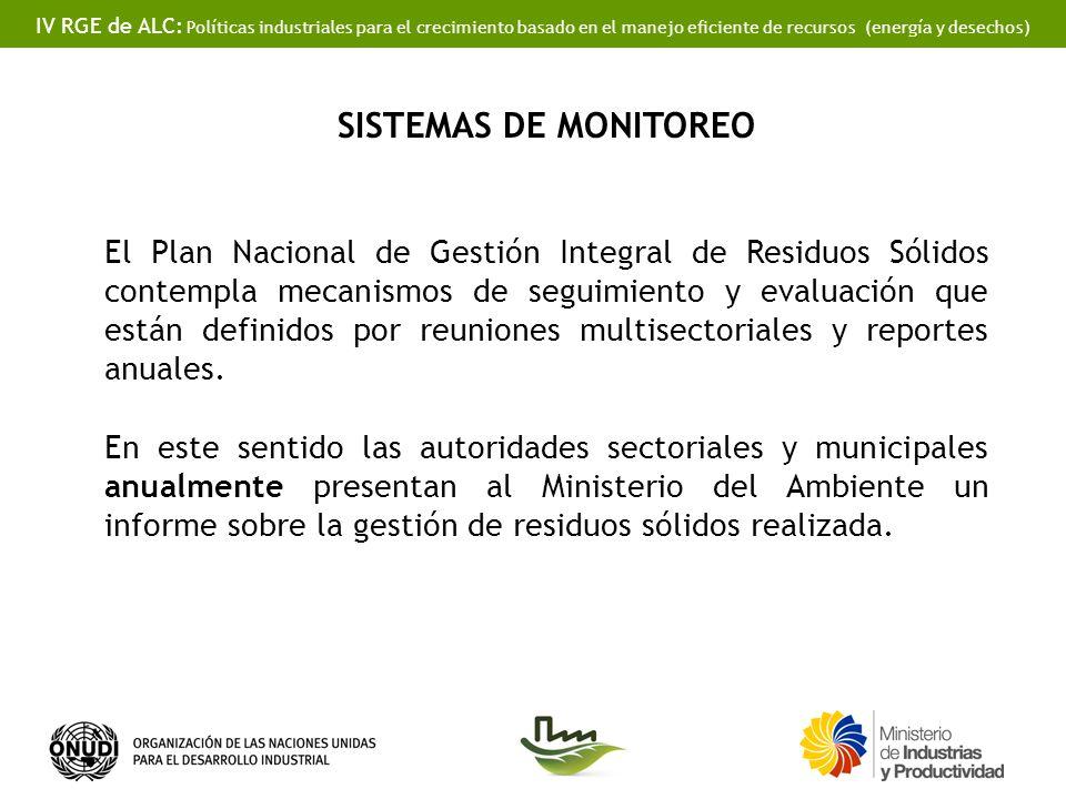 IV RGE de ALC: Políticas industriales para el crecimiento basado en el manejo eficiente de recursos (energía y desechos) SISTEMAS DE MONITOREO El Plan