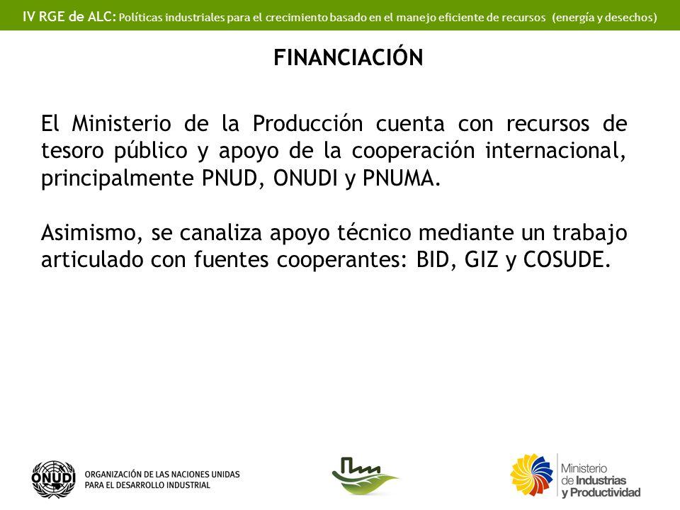 IV RGE de ALC: Políticas industriales para el crecimiento basado en el manejo eficiente de recursos (energía y desechos) FINANCIACIÓN El Ministerio de