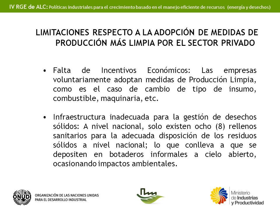 IV RGE de ALC: Políticas industriales para el crecimiento basado en el manejo eficiente de recursos (energía y desechos) Falta de Incentivos Económico