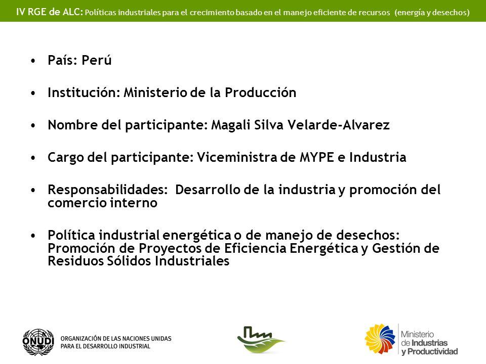 IV RGE de ALC: Políticas industriales para el crecimiento basado en el manejo eficiente de recursos (energía y desechos) FORMULACIÓN DE POLÍTICAS Y MARCOS REGULATORIOS Política Nacional del Ambiente.