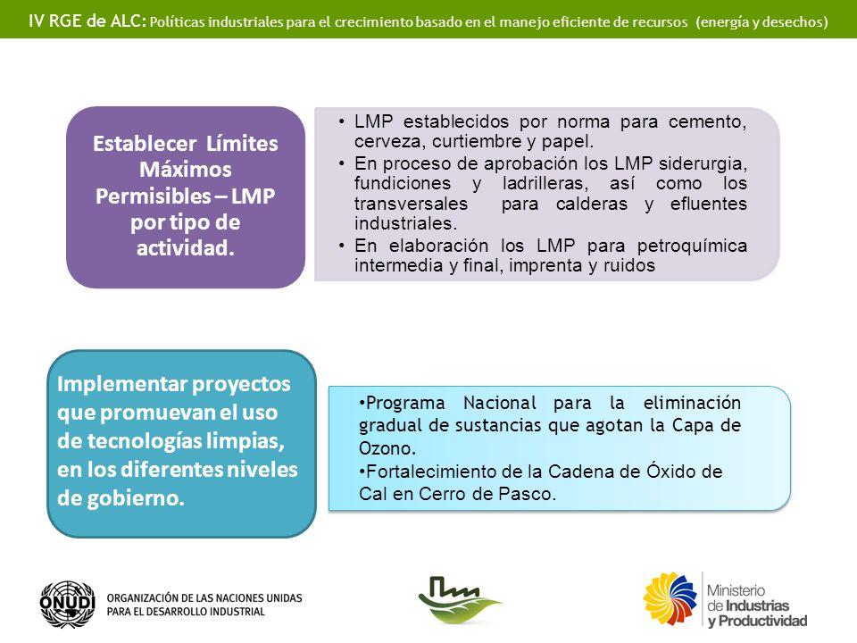 IV RGE de ALC: Políticas industriales para el crecimiento basado en el manejo eficiente de recursos (energía y desechos) LMP establecidos por norma para cemento, cerveza, curtiembre y papel.