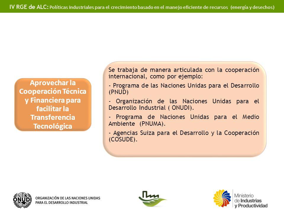 IV RGE de ALC: Políticas industriales para el crecimiento basado en el manejo eficiente de recursos (energía y desechos) Aprovechar la Cooperación Téc