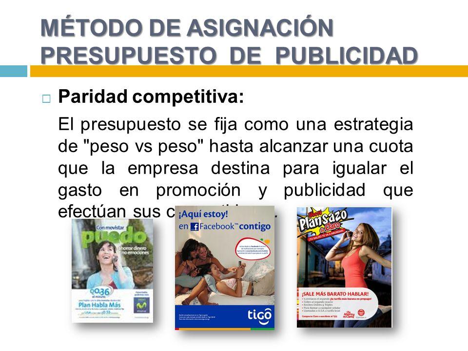 MÉTODO DE ASIGNACIÓN PRESUPUESTO DE PUBLICIDAD Paridad competitiva: El presupuesto se fija como una estrategia de