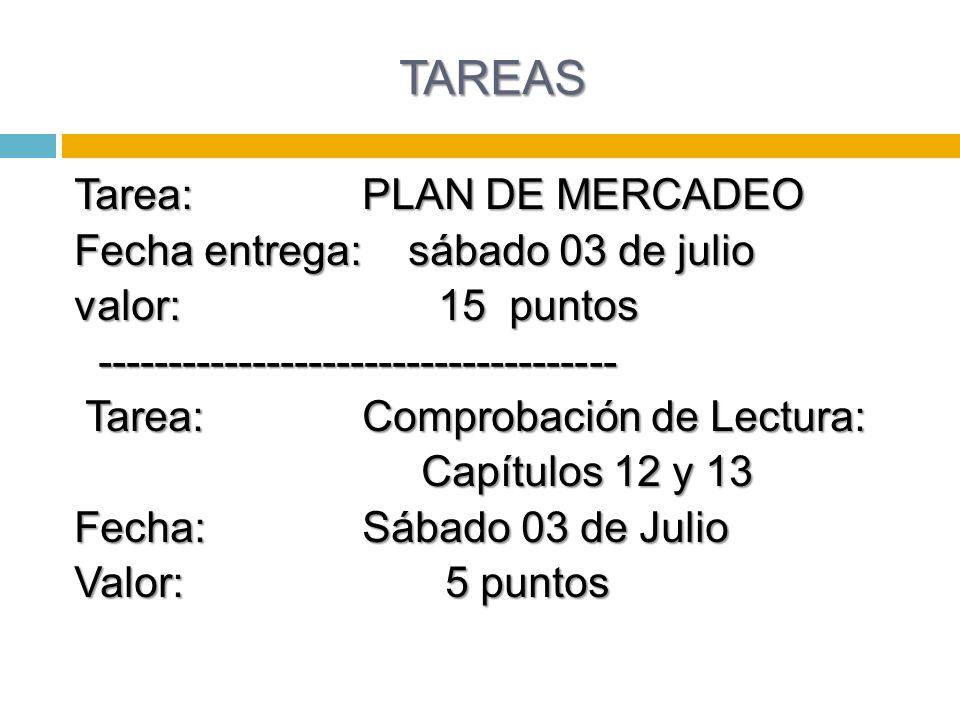 TAREAS Tarea:PLAN DE MERCADEO Fecha entrega: sábado 03 de julio valor: 15 puntos ------------------------------------- -------------------------------