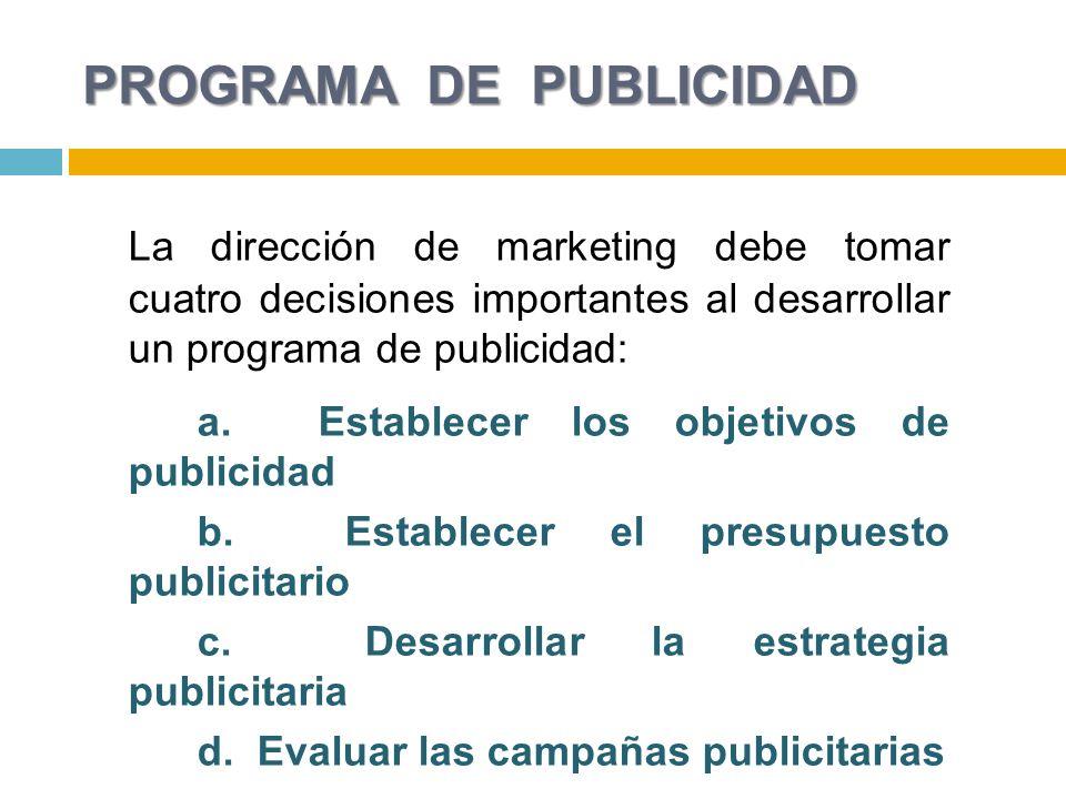 PROGRAMA DE PUBLICIDAD La dirección de marketing debe tomar cuatro decisiones importantes al desarrollar un programa de publicidad: a.