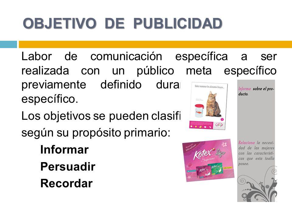 OBJETIVO DE PUBLICIDAD Labor de comunicación específica a ser realizada con un público meta específico previamente definido durante un periodo específ
