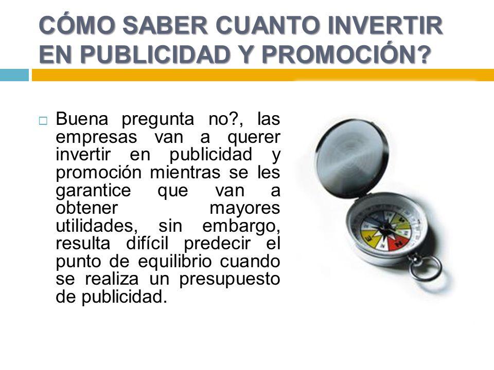 CÓMO SABER CUANTO INVERTIR EN PUBLICIDAD Y PROMOCIÓN? Buena pregunta no?, las empresas van a querer invertir en publicidad y promoción mientras se les