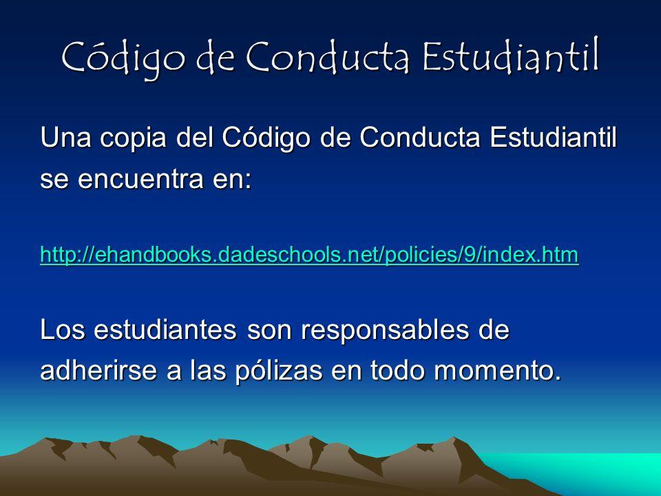 Código de Conducta Estudiantil Una copia del Código de Conducta Estudiantil se encuentra en: http://ehandbooks.dadeschools.net/policies/9/index.htm Lo