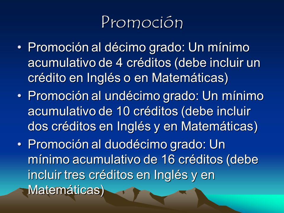 Promoción Promoción al décimo grado: Un mínimo acumulativo de 4 créditos (debe incluir un crédito en Inglés o en Matemáticas)Promoción al décimo grado