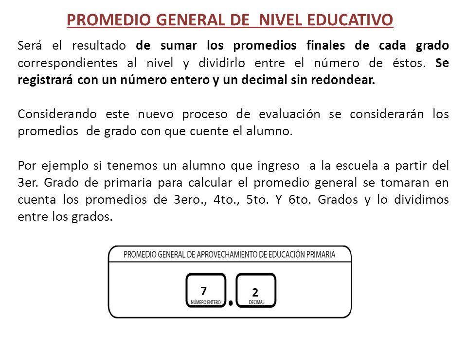 PROMEDIO GENERAL DE NIVEL EDUCATIVO Será el resultado de sumar los promedios finales de cada grado correspondientes al nivel y dividirlo entre el núme
