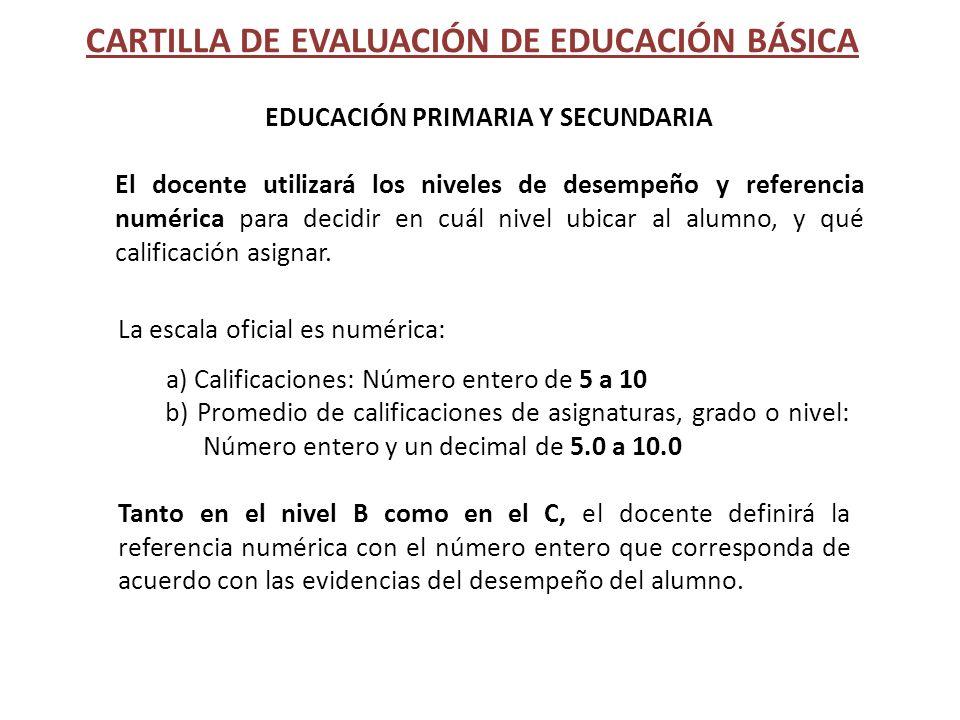CARTILLA DE EVALUACIÓN DE EDUCACIÓN BÁSICA EDUCACIÓN PRIMARIA Y SECUNDARIA El docente utilizará los niveles de desempeño y referencia numérica para de