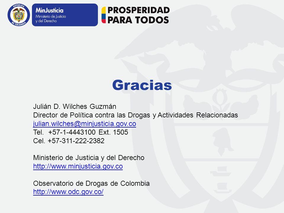 Dirección de Política contra las Drogas y Actividades Relacionadas Gracias Julián D. Wilches Guzmán Director de Política contra las Drogas y Actividad