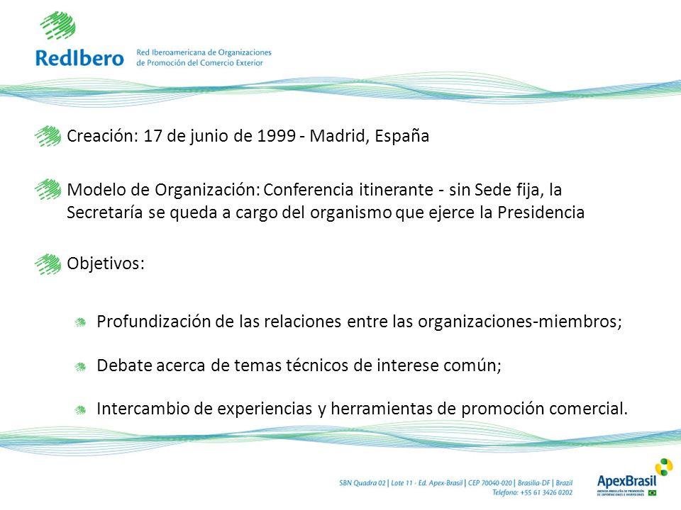 Creación: 17 de junio de 1999 - Madrid, España Modelo de Organización: Conferencia itinerante - sin Sede fija, la Secretaría se queda a cargo del orga